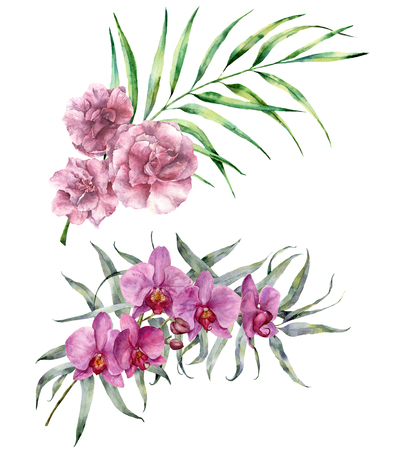 Watercolor tropical bouquet. Hand painted floral branch with eucalyptus and palm leaves, orchids and oleander flowers isolated on white background. Botanical exotic illustration for design, print.