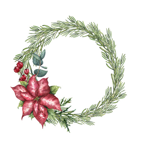 Watercolor Christmas floral wreath with rosemary. Hand painted rosemary branch, poinsettia, eucalyptus and crabapple isolated on white background. Floral botanical border for design or print. Stock Photo