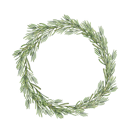 Watercolor rosemary wreath. Hand painted rosemary branch isolated on white background. Floral botanical border for design or print. Reklamní fotografie