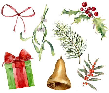 Watercolor Christmas plant and decor. Hand painted mistletoe, holly, gift with bow, red bow, gold bell, Christmas tree branches isolated on white background. Holiday clip art for design or print.