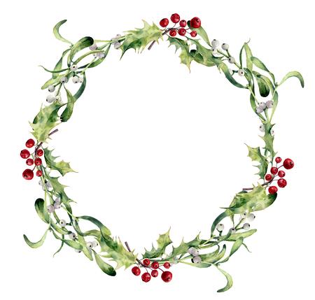 水彩のヒイラギとヤドリギの花輪。手描きのボーダー花枝とホワイトベリーの白い背景に分離されました。デザインまたは印刷用クリスマス クリッ