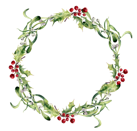 Aquarel hulst en maretak krans. Handgeschilderde grens floral tak en witte bessen geïsoleerd op een witte achtergrond. Kerst clipart voor ontwerp of print. Vakantie plant.