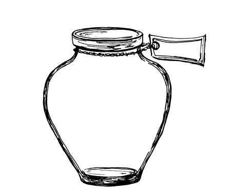 Vector hand drawn sketch jar with label. Illustration for design, print or background