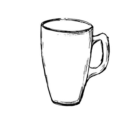 Vector hand drawn sketch coffee mug. Illustration for design, print or background