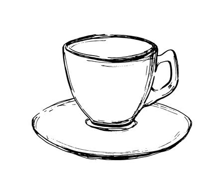 Tazza di caffè schizzo disegnato a mano di vettore. Illustrazione per design, stampa o sfondo Archivio Fotografico - 87350234
