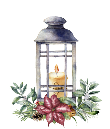 Watercolor Christmas lantern with candle and holiday decor. Hand painted traditional lantern with christmas plant isolated on white background. For design or print