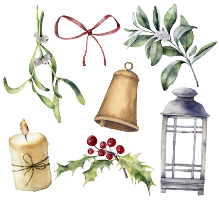 Watercolor Christmas decor with plant and berries. Hand painted eucalyptus, snowberry, bell, red bow, candle, mistletoe, lantern and holly isolated on white background. Holiday clip art for design. Foto de archivo