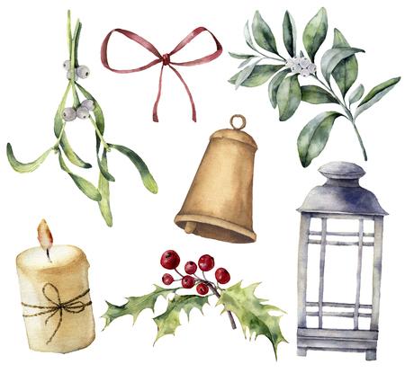 Aquarel kerst decor met planten en bessen. Handgeschilderde eucalyptus, sneeuwbes, bell, rode boog, kaars, maretak, lantaarn en holly geïsoleerd op een witte achtergrond. Vakantie clip art voor ontwerp.