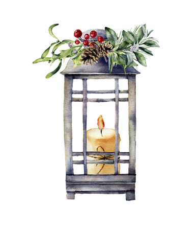 Watercolor tradition Christmas lantern with candle and holiday decor. Hand painted lantern with christmas plant isolated on white background. For design or print Stock Photo