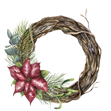 Watercolor tree wreath with Christmas decor. Hand painted tree branch with poinsettia, eucalyptus, mistletoe and christmass tree isolated on white background. Nature clip art for design or print.