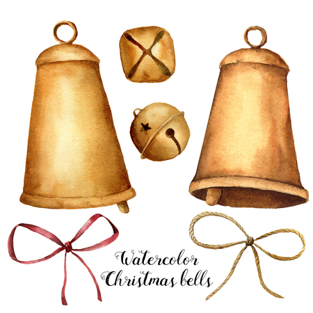 Watercolor Christmas set with bells and bow. Hand painted holiday decor isolated on white background. Christmas clip art for design or print. Stock Photo