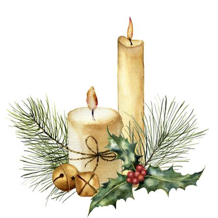 Vela de Navidad acuarela con decoración de vacaciones. Vela, acebo, rama de árbol de navidad y campana pintados a mano aislada en el fondo blanco. Clipart botánico de Navidad para diseño o impresión. Tarjeta navideña.