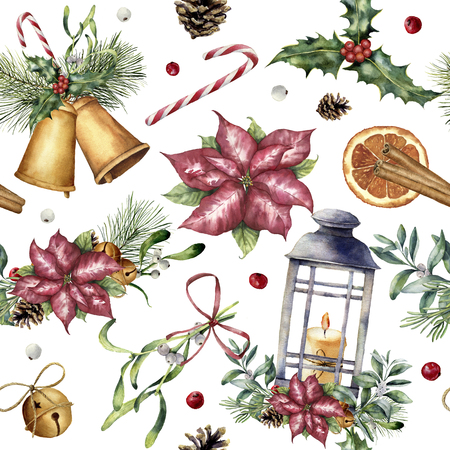 Watercolor Christmas pattern with traditional decor. Hand painted lantern, snowberry, bells, candle, mistletoe, cinnamon, poinsettia and holly isolated on white background. Holiday background. Stock Photo