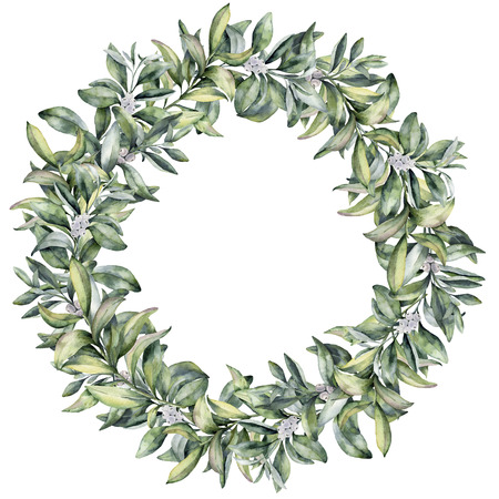 수채화 겨울 꽃 화 환입니다. 손으로 흰색 베리와 흰색 배경에 고립 된 snowberry 분기를 그렸습니다. 크리스마스 식물원 디자인 또는 인쇄 프레임입니다.