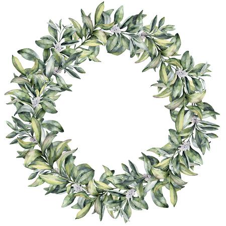 Aquarell Winter Blumenkranz. Handgemalte Snowberry Niederlassung mit der weißen Beere getrennt auf weißem Hintergrund. Weihnachtsbotanischer Rahmen für Design oder Druck. Ferienanlage Standard-Bild - 87970119