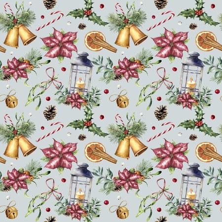 전통적인 장식 수채화 크리스마스 원활한 패턴입니다. 손으로 랜 턴, snowberry, 종소리, 촛불, 미 슬 토, 계 피, 포 인 세 티아와 홀리 파란색 배경에 고립 스톡 콘텐츠