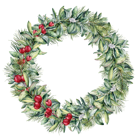 Watercolor winter floral wreath with white and red berries. Hand painted christmas tree and snowberry branch isolated on white background. Christmas botanical frame for design or print. Holiday plant. Stock Photo