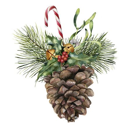 Watercolor pine cone with holiday decor. Hand painted pine cone with christmas tree branch, bells, candy, holly and mistletoe isolated on white background for design or print. Christmas plant.