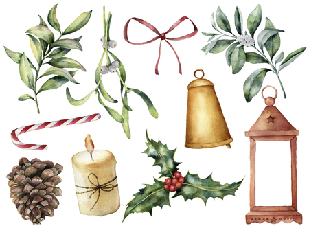 Watercolor Christmas decor with plant and berries. Hand painted eucalyptus, snowberry, bell, red bow, candle, mistletoe, lantern and holly isolated on white background. Holiday clip art for design. Stock Photo