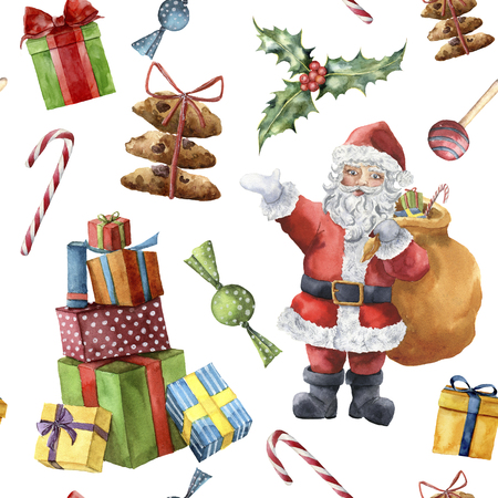 Watercolor Christmas pattern with Santa Claus. Hand painted Christmas character with holly, candies, cookies and presents with ribbon isolated on white background. Holiday print for design, fabric