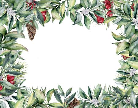 水彩花クリスマスのカード。手描きの冬の植物と