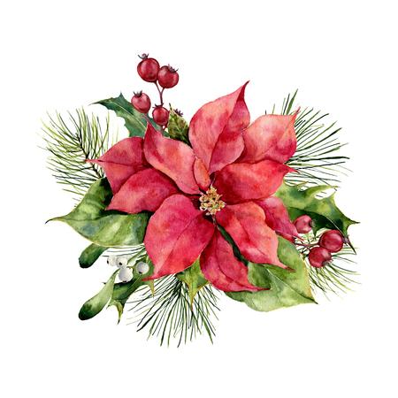 Acuarela poinsettia con decoración floral de Navidad. Flores y plantas tradicionales pintadas a mano: acebo, muérdago, bayas y rama de abeto aislado sobre fondo blanco. Impresión de vacaciones.