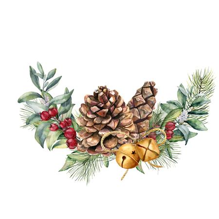 Aquarel winter floral samenstelling. Handgeschilderde sneeuwbes en dennentakken, rode bessen met bladeren, dennenappel, klokken geïsoleerd op een witte achtergrond. Kerst illustratie voor ontwerp, afdrukken. Stockfoto