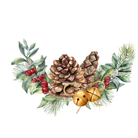 Watercolor winter floral composition. Hand painted snowberry and fir branches, red berries with leaves, pine cone, bells isolated on white background. Christmas illustration for design, print. Foto de archivo