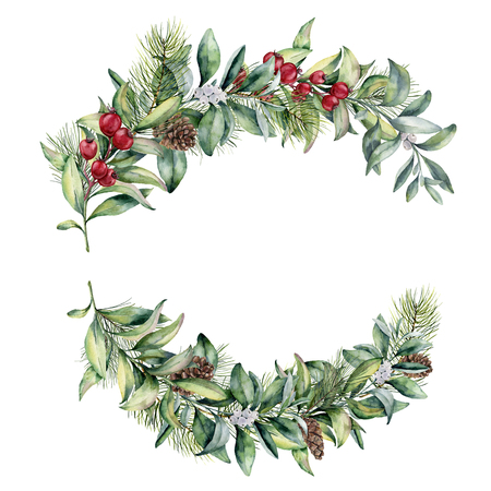 Watercolor winter floral bouquets. Hand painted snowberry and fir branches, red berries with leaves, pine cone isolated on white background. Christmas illustration for design, print, textile. Stock Photo