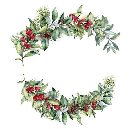 Aquarel Kerstmis floral samenstelling. Handgeschilderde sneeuwbes en fir takken, rode bessen met bladeren, dennenappel op een witte achtergrond. Kerst illustratie voor besign, print, textiel.
