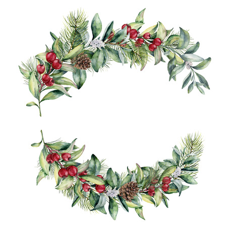 Watercolor Christmas floral composition. Hand painted snowberry and fir branches, red berries with leaves, pine cone isolated on white background. Christmas illustration for besign, print, textile.