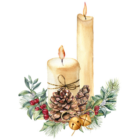 휴일 훈장 수채화 크리스마스 촛불입니다. 손으로 그린 된 촛불, 홀리, 크리스마스 트리 분기 및 흰색 배경에 고립 된 벨. 크리스마스 식물 인쇄 디자인
