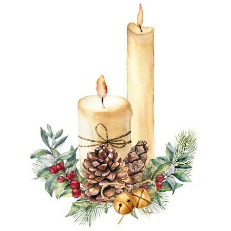 Acuarela velas de Navidad con decoración de vacaciones. Vela, acebo, rama de árbol de navidad y campana pintados a mano aislados en el fondo blanco. Impresión botánica navideña para diseño o impresión. Tarjeta de vacaciones Foto de archivo - 89322432