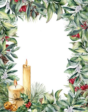 Cartolina d'auguri di Natale di acquerello con le candele. Archivio Fotografico - 89321320