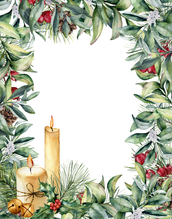 Watercolor Christmas greeting card with candles.