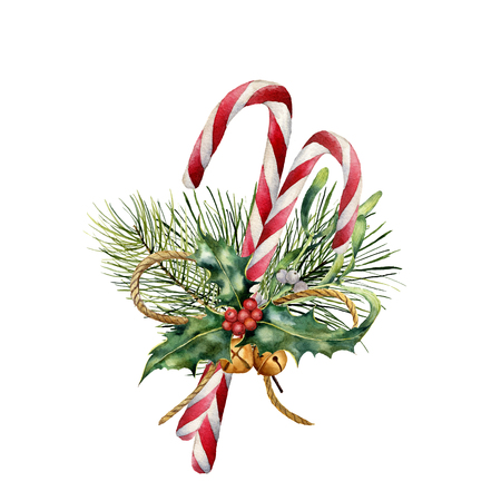 Watercolor Christmas Canes with decor. Hand painted traditional candy with christmas plant: holly, mistletoe, bells, ribbon and fir branch isolated on white background. Holiday print for design. Banque d'images