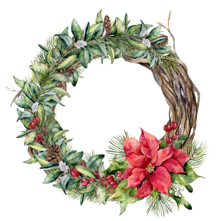 Watercolor traditional Christmas floral wreath. Hand painted poinsettia, snowberry, tree and fir branches, red berries with leaves, holly, pine cone isolated on white. Christmas print for design. Stock Photo