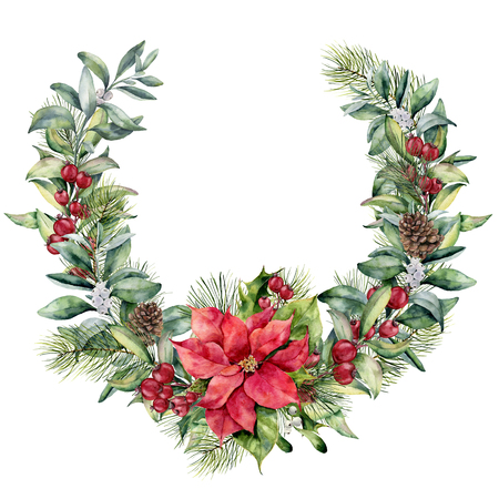 Watercolor Christmas floral wreath with poinsettia. Hand painted snowberry and fir branches, red berries with leaves, pine cone isolated on white background. Christmas illustration for design, print.