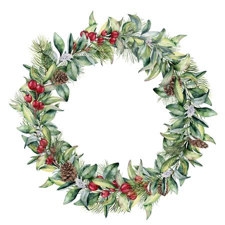 水彩冬花の花輪。手描きの snowberry とモミの葉、枝、赤い果実白い背景に分離された円錐形の松。クリスマス イラスト、デザイン、印刷、織物。