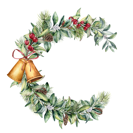 수채화 크리스마스 꽃 프레임입니다. 손으로 딸기와 전나무 지점, 소나무 콘, 종소리, 흰색 배경에 절연 리본 꽃 지점을 그린. 휴일 클립 아트입니다.