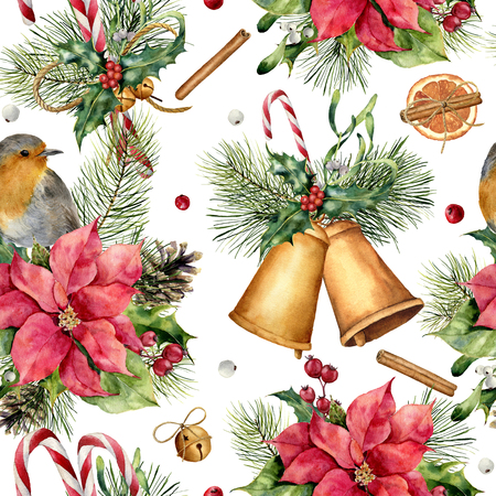 Watercolor traditional Christmas pattern. Hand painted ornament with bells, robin, fir branch, berries, holly, mistletoe, cinnamon, candy, poinsettia and pine cone on white background. Holiday print. 写真素材
