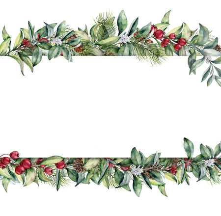 Watercolor Christmas floral banner. Hand painted floral garland with berries and fir branch, pine cone, bells and ribbon isolated on white background. Holiday clip art. Stock Photo