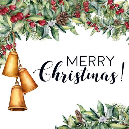 Aquarell Weihnachtsblumenkarte mit Glockengirlande. Standard-Bild - 90255960