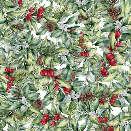 Watercolor Christmas floral pattern. Hand painted snowberry and fir branches, berries and leaves, pine cones isolated on white background. Holiday ornament for design and fabric.