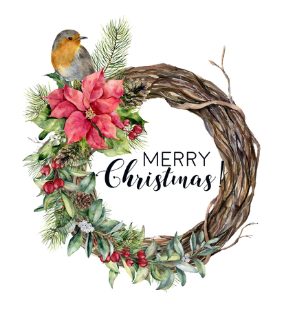 Watercolor Christmas wreath with bird. Hand painted tree frame with robin, poinsettia, holly, snowberry, floral and fir branch isolated on white background. Holiday card.