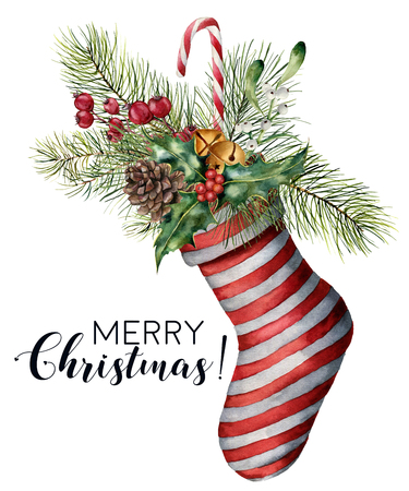 Watercolor Merry Christmas card with decor. Hand painted Christmas striped sock with fir branch, pine cone, holly, mistletoe, candy, bells and berries isolated on white background. Holiday print.