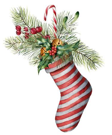 Watercolor Christmas sock with decor.