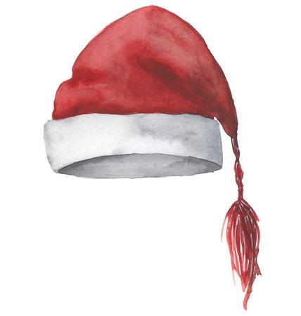 Aquarell Weihnachtsmütze. Handgemalter Weihnachtsroter Hut an lokalisiert Standard-Bild - 90061714