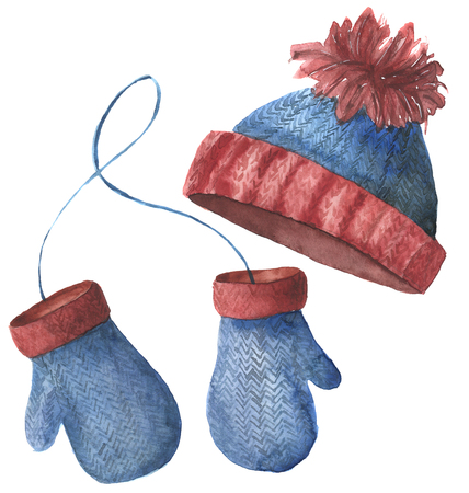 Watercolor hat and mittens. Hand painted knitted clothes isolated on white background. Winter illustration for design.