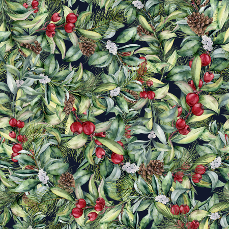 Watercolor winter floral seamless pattern. Hand painted floral branches, berries, snowberries, leaves and pine cones. Holiday print. Christmas clip art. Foto de archivo